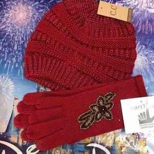 HOST PICK Metallic Red Knit Beanie & Beaded Gloves